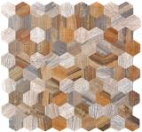 Mosaikfliese selbstklebend Aluminium grau beige Hexagon metall Holzoptik MOS200-2022