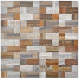 Mosaikfliese selbstklebend Aluminium grau beige Kombination metall Holzoptik MOS200-2322