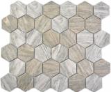 Keramik Mosaik Hexagon Holzmaserung grau Mosaikfliese Wand Fliesenspiegel Küche Bad MOS11H-0200_f