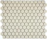 Mosaikfliese Keramik weiß Hexagon hellbeige unglasiert MOS11A-1202-R10