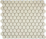 Mosaik Fliese Keramik weiß Hexagon hellbeige unglasiert MOS11A-1202-R10