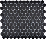 Mosaikfliese Keramik Hexagon schwarz unglasiert MOS11A-0304-R10