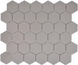 Mosaikfliese Keramik Hexagon hellgrau unglasiert MOS11B-0203-R10
