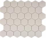 Mosaikfliese Keramik weiß Hexagon hellbeige unglasiert MOS11B-1202-R10