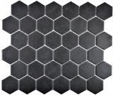 Mosaikfliese Keramik Hexagon schwarz unglasiert MOS11B-0304-R10