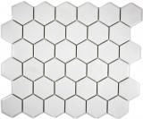 Mosaikfliese Keramik Hexagon weiß unglasiert MOS11B-0102-R10