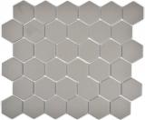 Mosaikfliese Keramik Hexagon grau unglasiert MOS11B-0202-R10