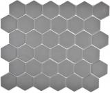 Mosaikfliese Keramik Hexagon dunkelgrau unglasiert MOS11B-0213-R10