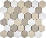 Mosaikfliese Keramik Hexagon weiß hellbeige hellgrau unglasiert MOS11B-1122-R10