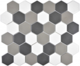 Mosaik Fliese Keramik Hexagon weiß grau schwarz unglasiert MOS11B-0123-R10
