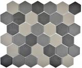 Mosaikfliese Keramik Hexagon grau dunkelgrau schwarz unglasiert MOS11B-2313-R10