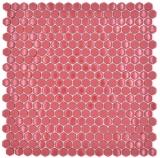 Glasmosaik Hexagon rot Hexagonal Sechseckmosaik glänzend matt Mosaikfliese Wand Fliesenspiegel Küche Bad MOS140-0901_f