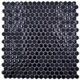 Glasmosaik Hexagonal Sechseckmosaik schwarz glänzend matt Mosaikfliese Wand Fliesenspiegel Küche Bad MOS140-0301_f