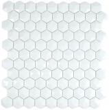 Glasmosaik Hexagonal Sechseckmosaik weiß 3D Mosaikfliese Wand Fliesenspiegel Küche Bad
