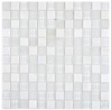 Glasmosaik Steinmosaik mix super weiss Mosaikfliese Wand Fliesenspiegel Küche Bad MOS72-0001
