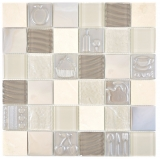 Quadrat Crystal/Stein/Stahl mix Relief beige Mosaikfliese Wand Fliesenspiegel Küche Bad