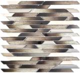 Verbund Crystal/Marmor mix EP beige/braun schräg Mosaikfliese Wand Fliesenspiegel Küche Bad