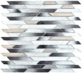 Glasmosaik Stäbchen silber metall schwarz schräg Wand Fliesenspiegel Küche BAD MOS86-0203