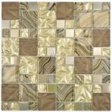 Glasmosaik Kombination Stahl mix beige braun Mosaikfliese Wand Fliesenspiegel Küche Bad MOS88-1207_f