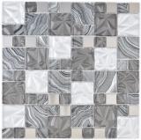 Glasmosaik Kombination Stahl mix grau schwarz Mosaikfliese Wand Fliesenspiegel Küche Bad MOS88-1702_f