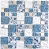 Glasmosaik Kombination Stahl grau blau Mosaikfliese Wand Fliesenspiegel Küche Bad MOS88-0402_f