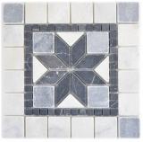 Naturstein Einleger Dekor nero bianco bardiglio weiss grau anthrazit Boden Wand