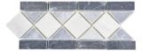 Naturstein Bordüre nero bianco bardiglio grau weiss Bad Wand Boden MOSBor-0226_f