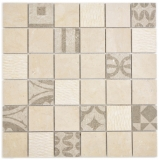 Quadrat Marmor/Keramik mix beige 2F Mosaikfliese Wand Fliesenspiegel Küche Bad MOS180-A0148B_f