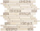 Verbund Marmor/Keramik mix beige 2F Mosaikfliese Wand Fliesenspiegel Küche Bad
