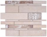 Verbund Marmor/Keramik mix beige/color 2F Mosaikfliese Wand Fliesenspiegel Küche Bad