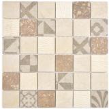 Quadrat Marmor/Keramik mix beige  3F Mosaikfliese Wand Fliesenspiegel Küche Bad