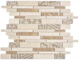 Verbund Marmor/Keramik mix beige 3F Mosaikfliese Wand Fliesenspiegel Küche Bad MOS180-B0327B_f
