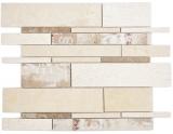 Verbund Marmor/Keramik mix beige/color 3F Mosaikfliese Wand Fliesenspiegel Küche Bad