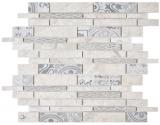 Verbund Marmor/Keramik mix grau 2F Mosaikfliese Wand Fliesenspiegel Küche Bad
