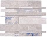 Verbund Marmor/Keramik mix grau/color 2F Mosaikfliese Wand Fliesenspiegel Küche Bad