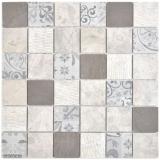 Quadrat Marmor/Keramik mix grau 3F Mosaikfliese Wand Fliesenspiegel Küche Bad