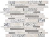 Verbund Marmor/Keramik mix grau 3F Mosaikfliese Wand Fliesenspiegel Küche Bad
