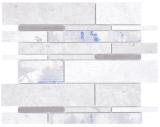 Verbund Marmor/Keramik mix grau/color 3F Mosaikfliese Wand Fliesenspiegel Küche Bad