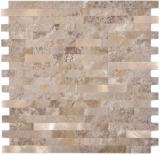 Verbund Vinyl Steinoptik Limestone brown/Gold Mosaikfliese Wand Fliesenspiegel Küche Bad MOS200-LBG_f