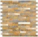 Verbund Vinyl Steinoptik Multi Slate/Gold Mosaikfliese Wand Fliesenspiegel Küche Bad MOS200-MSG_f