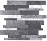 Verbund Vinyl Steinoptik Black Qaurtz/Silver Mosaikfliese Wand Fliesenspiegel Küche Bad MOS200-32BS_f