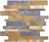 Verbund Vinyl Steinoptik Multi Slate/Gold Mosaikfliese Wand Fliesenspiegel Küche Bad MOS200-8MSG_f