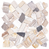 Fossiles Natursteinmosaik Polygonal Bruch Mosiakmatte Wood Holzoptik Duschtasse Küche Wand