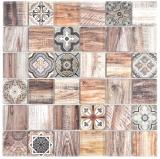 Quadrat Crystal mix braun Mosaikfliese Wand Fliesenspiegel Küche Dusche Bad