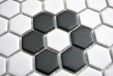 Mosaik Fliese Keramik Hexagon schwarz weiß matt Fliesenspiegel Küche MOS11A-0103_m