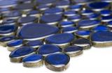 Kieselmosaik Pebbles Keramik blau glänzend Duschtasse Fliesenspiegel MOS12-0405_m