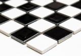 Handmuster Mosaikfliese Keramik Schachbrett schwarz weiß glänzend Fliesenspiegel MOS18-0306_m