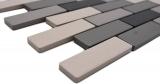 Handmuster Mosaik Fliese Keramik hellbeige grau Brick unglasiert Duschtasse Bodenfliese MOS26-0206-R10_m