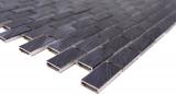 Handmuster Mosaik Fliese Aluminium Brick Aluminium schwarz Fliesenspiegel Küche MOS48-0304_m
