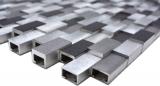 Handmuster Mosaik Fliese Aluminium Brick Aluminium 3D alu silber schwarz MOS49-0208_m